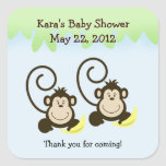 SILLY MONKEYS TWINS SQUARE Favour Sticker
