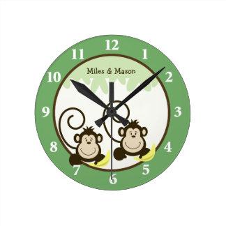 Silly Monkeys Twins Wall Clock - Green