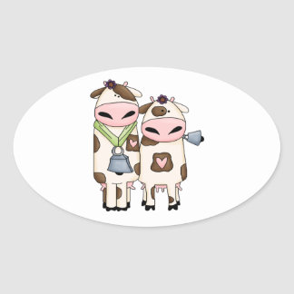 silly moo cow couple cartoon oval sticker