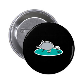 silly mouse with broken leg 6 cm round badge