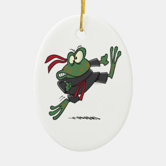 silly ninja frog cartoon christmas ornament