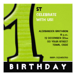 Silly Number 1 green 1st Birthday Invite