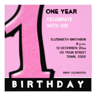 Silly Number 1 pink 1st Birthday Invite