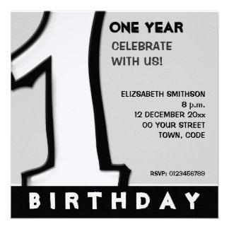 Silly Number 1 white 1st Birthday Invite
