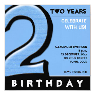 Silly Number 2 blue Birthday Party Invitation