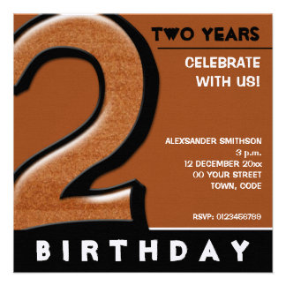 Silly Number 2 chocolate Birthday Party Invite