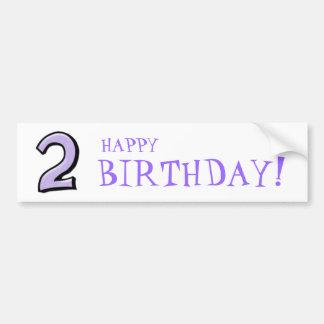 Silly Number 2 lavender white Birthday Bumper Sticker