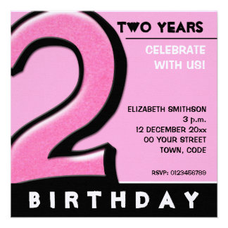 Silly Number 2 pink Birthday Party Invitation