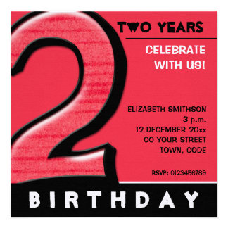 Silly Number 2 red Birthday Party Invitation
