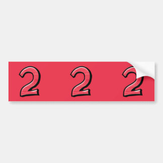 Silly Number 2 red cutout Stickers Bumper Sticker