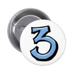 Silly Number 3 blue Button