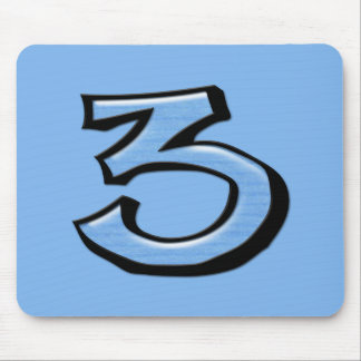 Silly Number 3 blue Mousepad