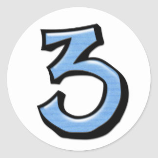 Silly Number 3 blue white Sticker