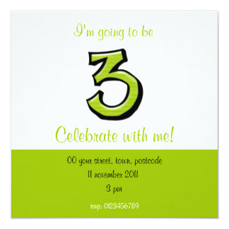 Silly Number 3 green Birthday Invitation