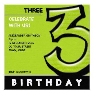 Silly Number 3 green Birthday Party Invitation