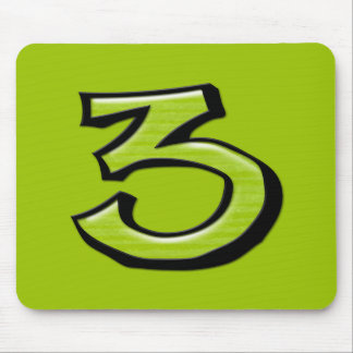Silly Number 3 green Mousepad