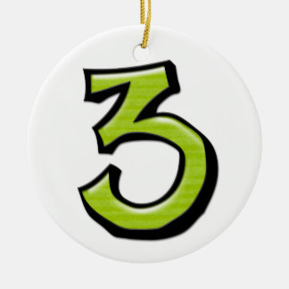 Silly Number 3 green Ornament