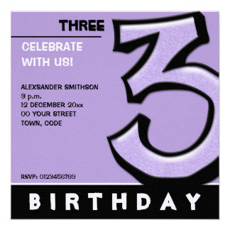 Silly Number 3 lavender Birthday Party Invite