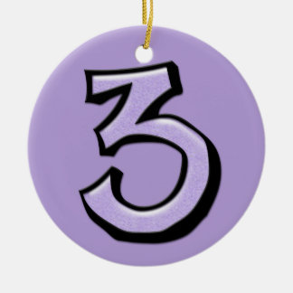 Silly Number 3 lavender Ornament