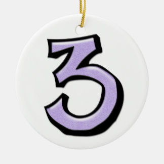 Silly Number 3 lavender white Ornament