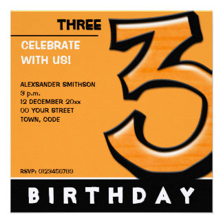 Silly Number 3 orange Birthday Party Invitation