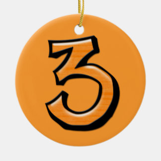 Silly Number 3 orange Ornament