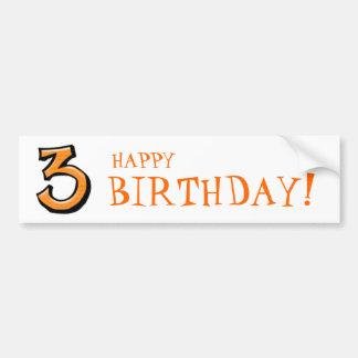 Silly Number 3 orange white Birthday Bumper Sticker