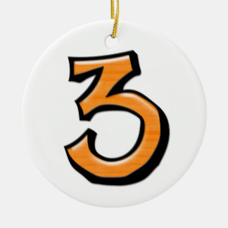 Silly Number 3 orange white Ornament