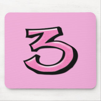 Silly Number 3 pink Mousepad