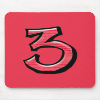 Silly Number 3 red Mousepad