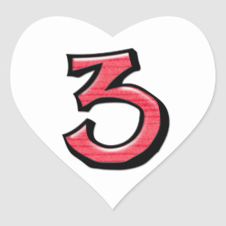 Silly Number 3 red white Heart Sticker