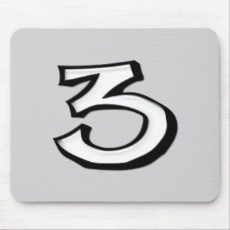 Silly Number 3 white Mousepad