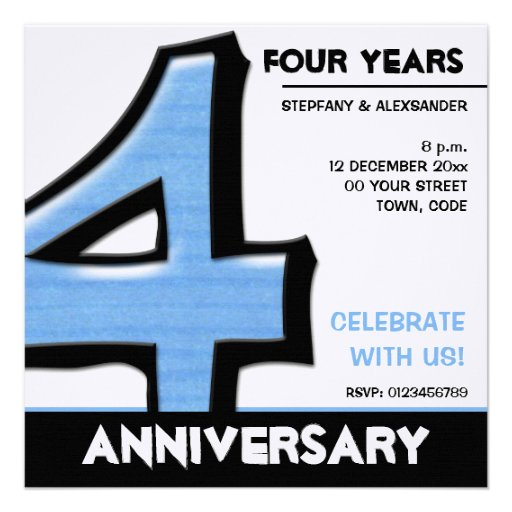 Silly Number 4 blue Anniversary Invitation