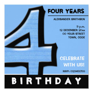 Silly Number 4 blue Birthday Party Invitation