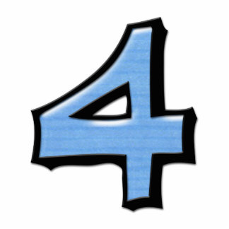 Silly Number 4 blue Cake Topper Standing Photo Sculpture