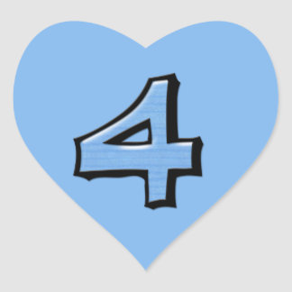 Silly Number 4 blue Heart Sticker
