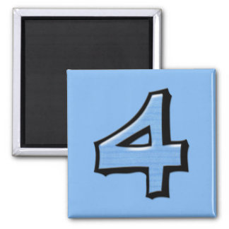 Silly Number 4 blue Square Magnet