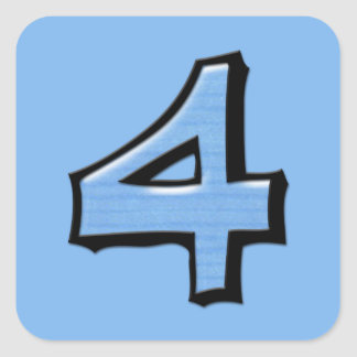 Silly Number 4 blue Square Sticker
