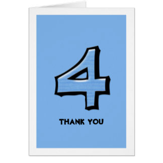 Silly Number 4 blue Thank You Note Card