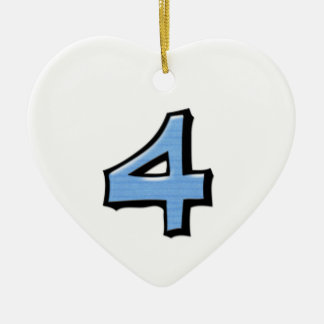 Silly Number 4 blue white Heart Ornament