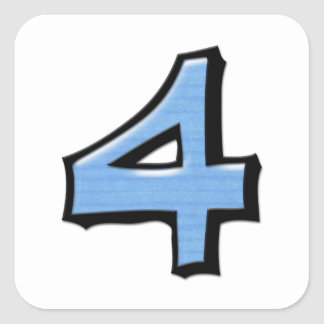 Silly Number 4 blue white Square Sticker