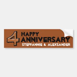 Silly Number 4 chocolate Anniversary Sticker Bumper Sticker