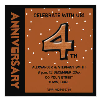 Silly Number 4 chocolate dots Anniversary Invite