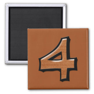 Silly Number 4 chocolate Square Magnet