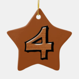 Silly Number 4 chocolate Star Ornament