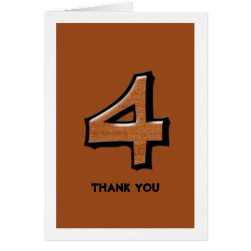 Silly Number 4 chocolate Thank You Note Card