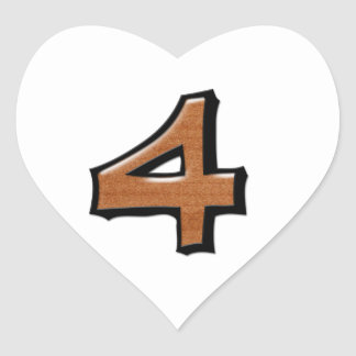 Silly Number 4 chocolate white Heart Sticker