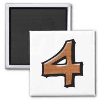 Silly Number 4 chocolate white Square Magnet