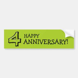 Silly Number 4 green Anniversary Bumper Sticker