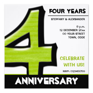 Silly Number 4 green Anniversary Invitation